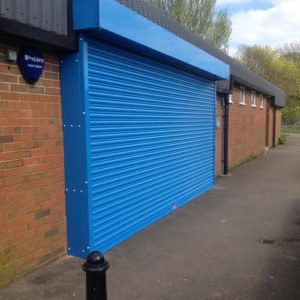 Blue Powder Coated Roller Shutter- Petersfield