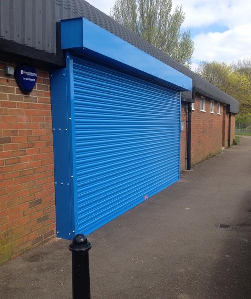 Blue Powder Coated Roller Shutter- Ashbourne
