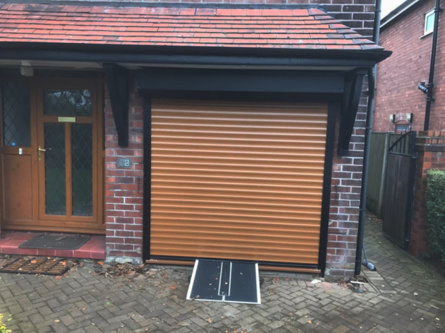 Domestic Roller Shutter Golden Oak 77 mm Lath Garage Door