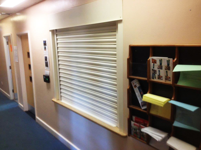 School Reception Fire Shutter- Westwood Security Shutters Ltd.