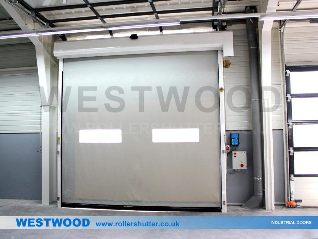 Silver High Speed Door, Manchester- Westwood Security Shutters Ltd.