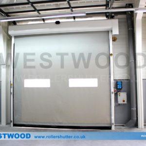 Silver High Speed Door- Westwood Security Shutters Ltd.