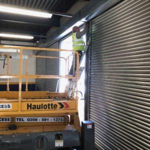 Plaistow-Kwik-Fit-Interior Roller Shutter Installation