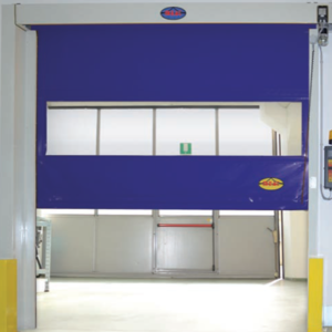 High speed door with visual panel