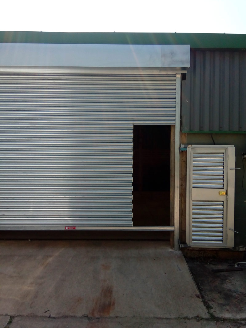 Roller-Shutter-With-Personnel-Door Before Fitting, Manchester