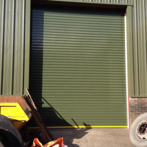 Powder coated twin skin insulated door- Porthmadog
